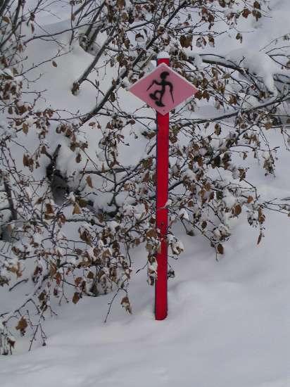 Die Signalisationstafeln des Schneeschuhtrails